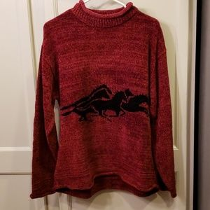 True Grit sweater with horses.